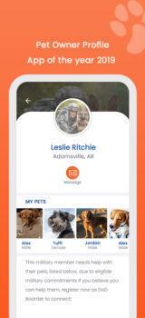 DoD Pet Owner Profile for Mobile App