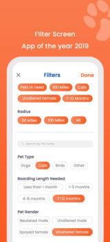 DoD Filter Screen for Mobile App